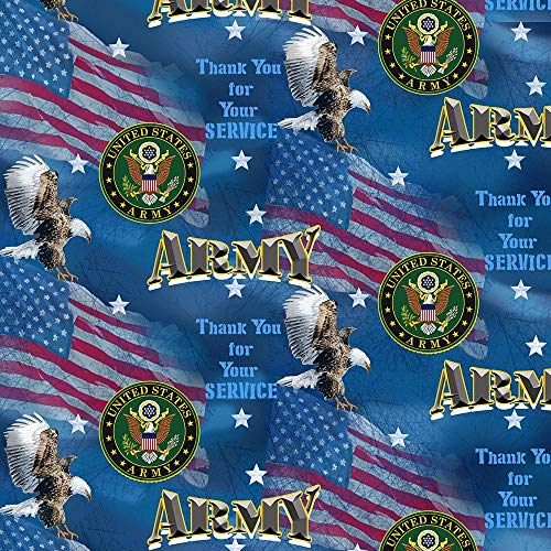 Army Military Armed Forces Flags Design 43' Wide 100% Quilting Cotton Fabric Sold by Yard
