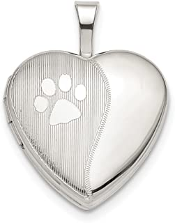 925 Sterling Silver 16mm Paw Print Heart Photo Pendant Charm Locket Chain Necklace That Holds Pictures Animal Fine Jewelry...