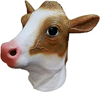 Cow Mask Bull Latex Mask Animal Head Face Disguise Adult Halloween Costume Party