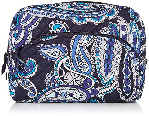 Vera Bradley Women's Signature Cotton Large Cosmetic Makeup Organizer Bag, Deep Night Paisley, One Size