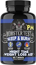Monster Test Fat Burner PM Sleep Aid Diet Pills Night-Time Formula, Weight Loss Capsules for Men, Melatonin, Valerian Root...