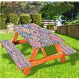 LEWIS FRANKLIN cortina de ducha marroquí mesa de picnic y banco, mantel ajustable, colorido Boho Ogee floral con borde elástico, 28 x 72 pulgadas, juego de 3 piezas para mesa plegable
