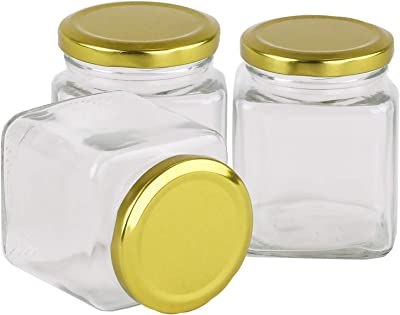 Brezzycloud Square Spice and Dry Fruit Storage Glass Jar and Container with Rust Proof and Air Tight Golden Metal Lid (250ml) - Set of 4