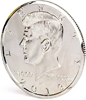 【手品グッズ】 マジックコイン ケネディ・ハーフダラー・コイン アメリカ50セント 3インチ 73.5mm  シルバー