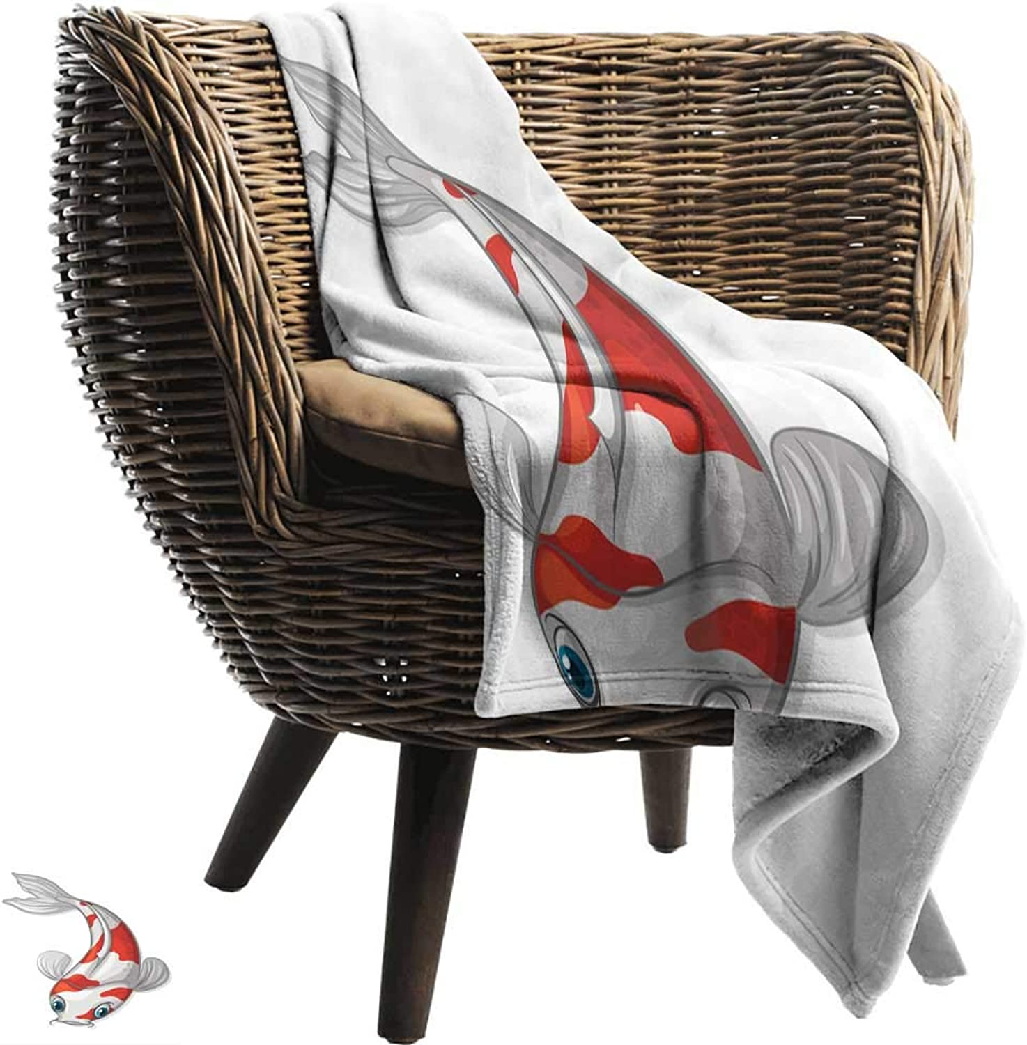 BelleAckerman Wearable Blanket,Fish,Grey and Red Koi Displayed in Dipping Motion Abstract Illustration of Aquarium,Pale Grey Red bluee,Lightweight Microfiber,All Season for Couch or Bed 70 x90
