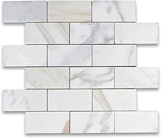 Calacatta Gold Italian Calcutta Marble Subway Brick Mosaic Tile 2 x 4 Honed
