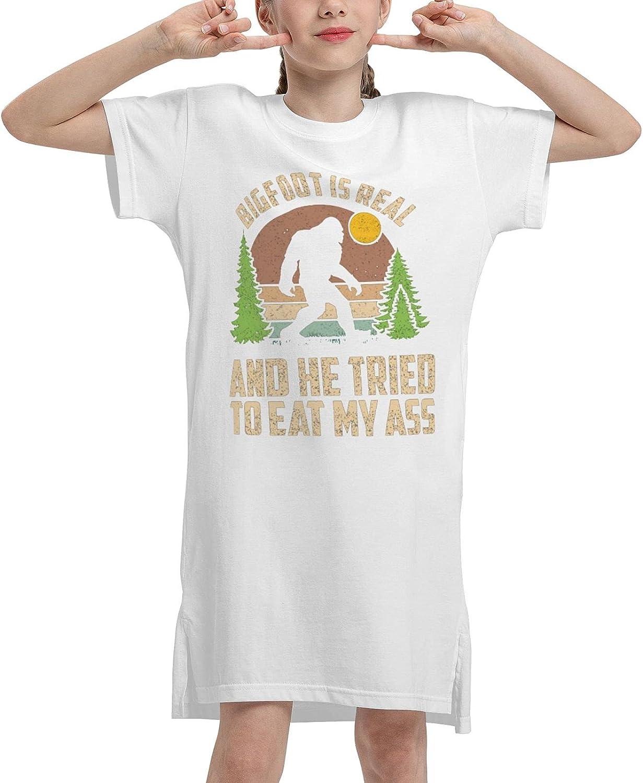 Bigfoot is Real and He Tried to Eat My Ass Girls' Short Sleeve Dress Waist Dress Summer T-Shirt Dress