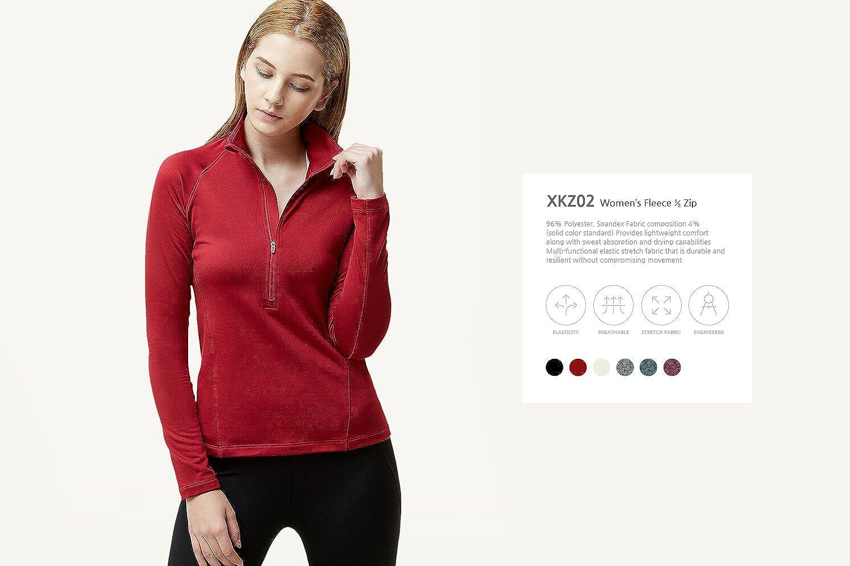 Lightweight Slim Fit Athletic Fleece Lining Winter Running Sweatshirt TSLA Womens 1//2 Zip Thermal Pullover Shirts