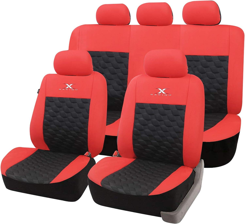 Esituro Scsc0168 Auto Schonbezug Sitzbezüge Für Auto Dicke Gepolstert Universal Schwarz Rot Auto