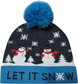 VIASA_ Warm Cap Colorful Merry Christmas LED Light-up Knit Xmas Hat Beanie Hairball Winter Knit Christmas Hat