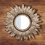 <span class='highlight'>HomeZone</span>® <span class='highlight'>Wall</span> <span class='highlight'>Mounted</span> Mirror Distressed Antique Silver Bronze Metal Feather Round Bedroom Vanity Mirror | Beautiful Rustic Vintage Hanging Living Room Home Decor