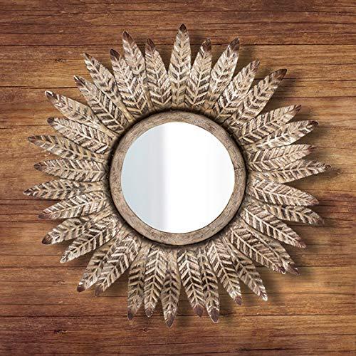 HomeZone - Specchietti da Parete in Stile Vintage retrò Shabby Chic, con Ali d'Angelo, a Forma di Cuore, in Legno con Decorazione a Forma di Cuore, Metal Feather Mirror