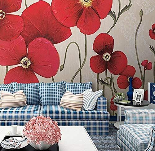 Pintura al óleo floral retro rojo murales de pared Pared Pintado Papel tapiz 3D Decoración dormitorio Fotomural de estar sala sofá mural-430cm×300cm