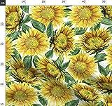 Sonnenblume, Gelb, Sommer, Wasserfarben, Rustikal Stoffe -