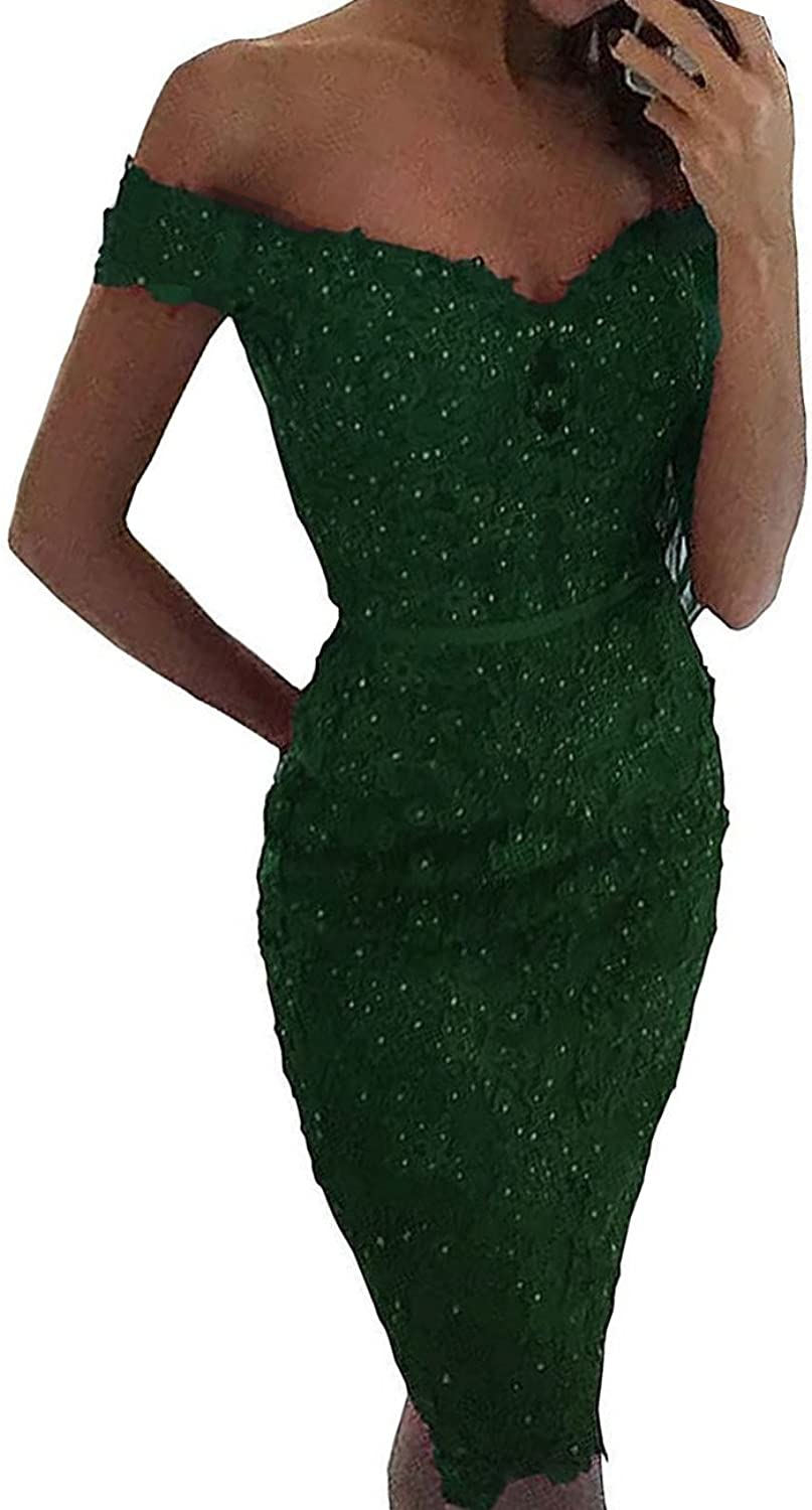 Lemai Off The Shoulder Beaded Lace Appliques Prom Dress Evening Gown 2018