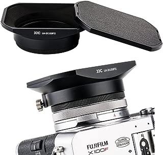 JJC Metal Square Lens Hood w/ABS Hood Cap Protector & 49mm Thread Filter Adapter Ring for Fujifilm X100F X100T X100S X100 X70 Digital Camera Replaces Fuji LH-X100 Lens Hood & AR-X100 Adapter/Black