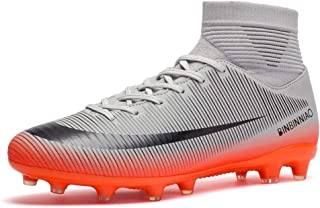 CR Indoor Cleats Big Boys Size Ankle Boots Women Turf Outdoor Soccer Shoes for Men Size White (7 M Big Kid, Grey)