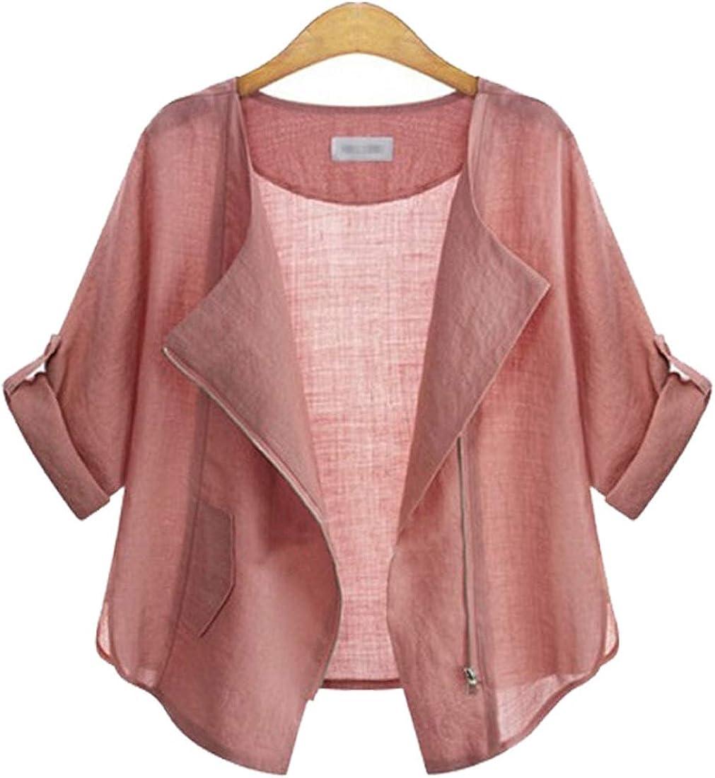 ebossy Women's Casual Roll Sleeve Lightweight Cotton Linen Cardigan Zip Up Moto Jacket