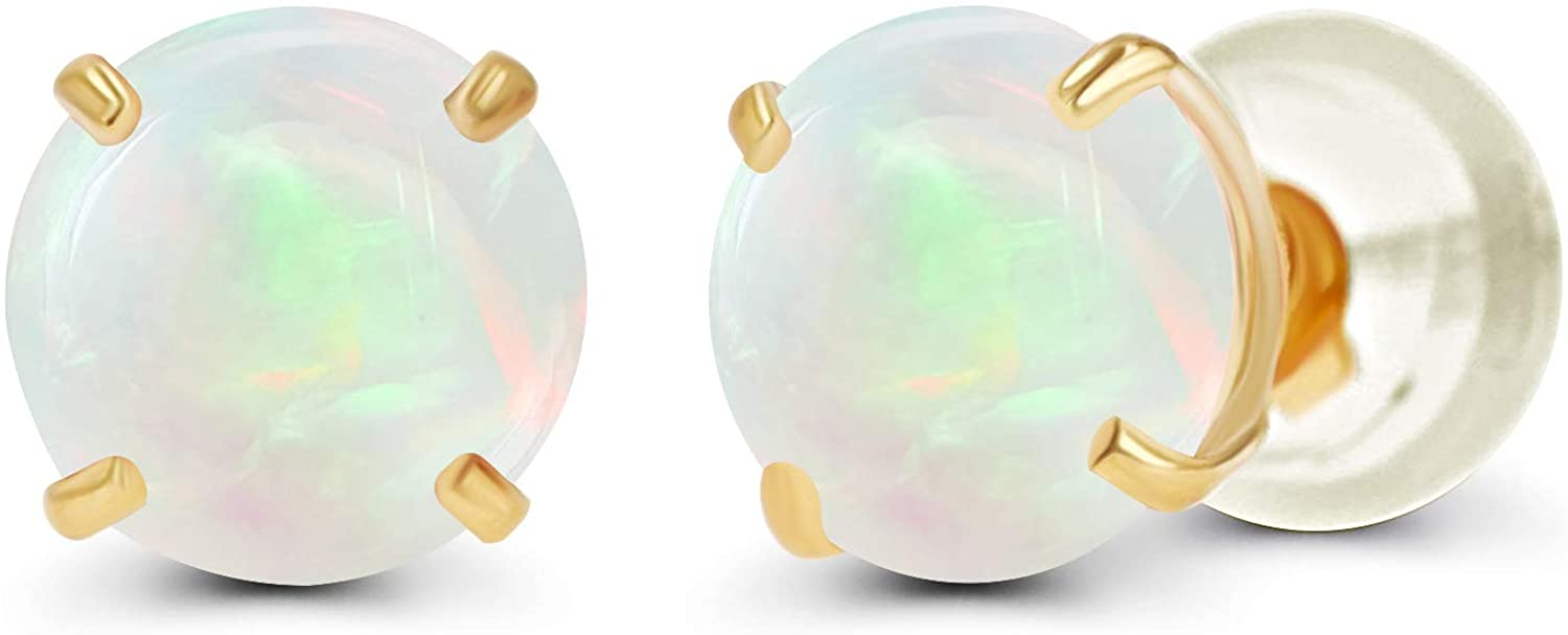 Solid 14K Yellow White Portland Mall Tampa Mall or Rose Genuine Gemstone 4mm Gold Round
