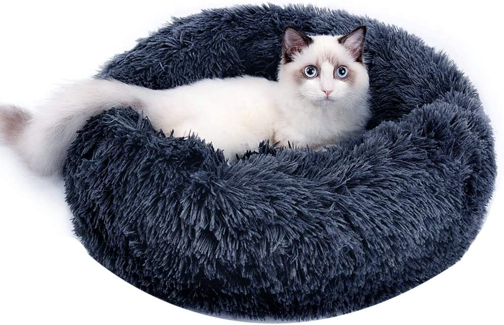 Calming Dog Nashville-Davidson Mall Cat Donut Bed Beds Washable Plush Fluffy Our shop OFFers the best service Cozy