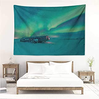 Aurora Borealis,Wall Decor Tapestry Old Plane Wreck Under Aurora Borealis Misty Winter Day View 80W x 60L Inch Tapestry Wallpaper Home Decor Petrol Blue Lime Green