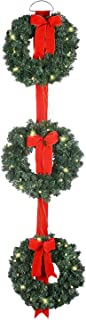 3 Pre-Lit Balsam Christmas Pine Wreaths on Red Ribbon - Battery Operated LED Lights With Timer - Hanging Artificial Pine Wreath Trio on Red Ribbon, Cordless Winter Three Wreaths on Ribbon
