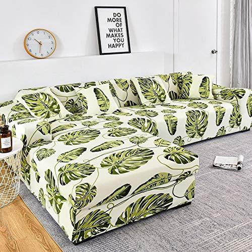 WXQY Funda de sofá con patrón de Rayas, Funda de sofá de algodón, Funda de sofá elástica para Sala de Estar, sofá Chaise Longue en Forma de L A8 de 2 plazas