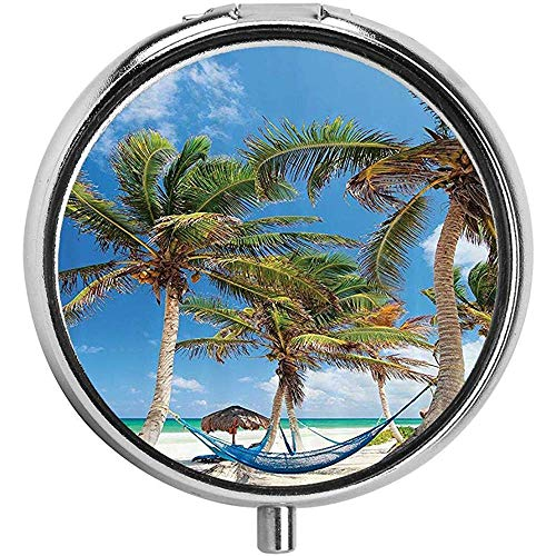 Hangmat en palmbomen Zand Sunny Beach Scenery Patroon Pill case Ronde Pil BoxThree-Compartment Pill Box/Pill case