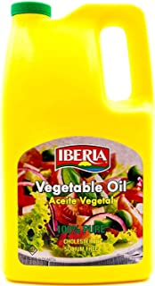 Iberia 100% Pure Vegetable Oil, 96 oz, Cholesterol Free, Sodium Free, Versatile All Purpose Cooking Oil, for Sautéing, Frying & Baking, High Smoke pt. & Neutral Flavor for Everyday Use