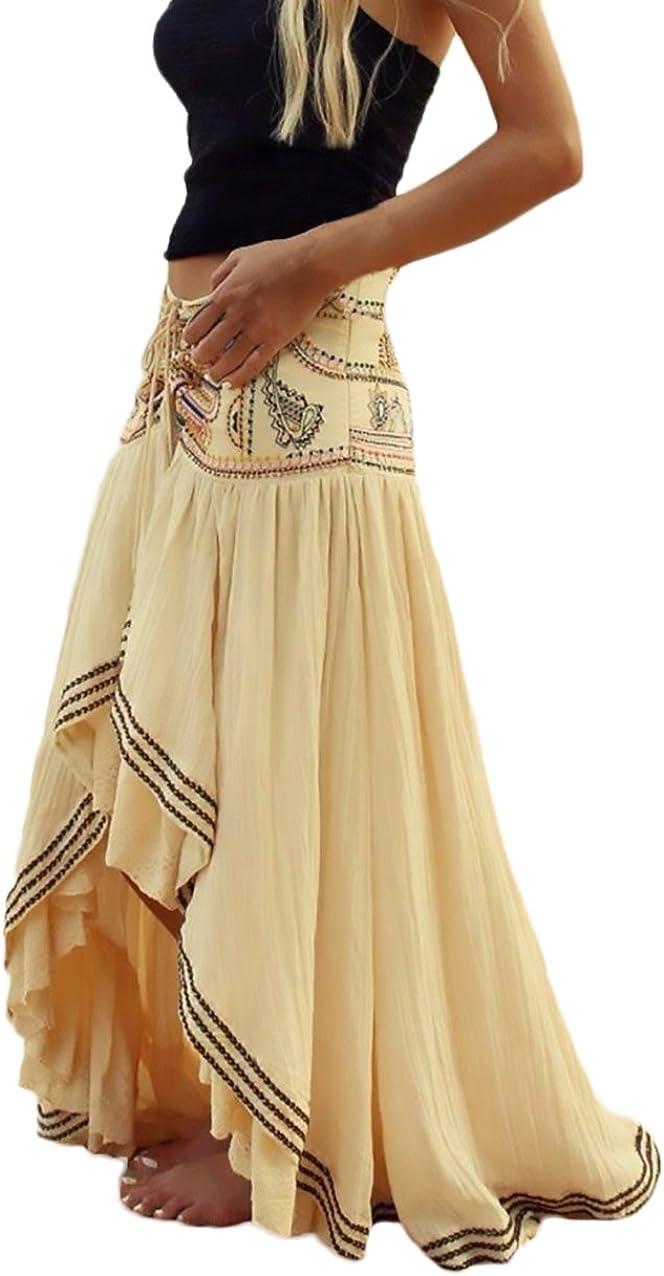 Mujer Faldas Largas Verano Playa Elegantes Vintage Hippies Boho Impresa Falda Cintura Alta Irregular Dobladillo Falda Plisada Ropa Fiesta Moda