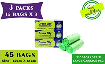 Green City- Garbage Bag |Large: 60CmX81Cm | 3 Pack of 15bags- 45Bags | 100% OXO-Biodegradable Eco-Friendly Dustbin Bags - Green