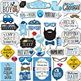 It's a Boy Baby Shower Photo Booth Props 41 Pieces with Wooden Sticks and Strike a Pose Sign by Outside The Booth