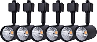 mirrea 6 Pack LED Track Lighting Heads Compatible with Single Circuit H Type Track Lighting Rail Ceiling Spotlight for Accent Task Wall Art Exhibition Lighting 6.5W 3000K Warm White 24° Black Painted