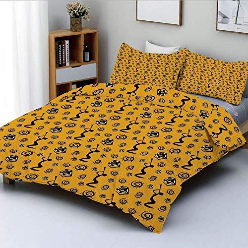 Juego de funda nórdica, silueta de una mujer africana tocando instrumentos musicales y figuras de serpientes Juego de cama decorativo de 3 piezas con 2 fundas de almohada, amarillo negro, el m