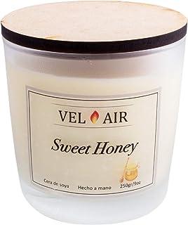 VEL AIR. Vela Arómatica Sweet Honey (Miel) Cera de soya, Ecologicas. 250 gr/ 9 oz.