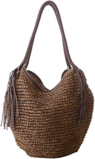 Grass Woven Bag Tassel Straw Bag Handmade Women Shoulder Bag Stylish Large Capacity Girls Tote Beach Bag