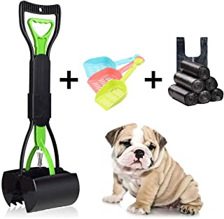 BlueBean Portable Pooper Scooper Dog Jumbo Jaws Poop Scoop with Easy Squeeze Trigger and High Tension Spring Dog Poo Scooper 6 Rolls Plastic Bag and 3 Shovels for Gardens Courtyard