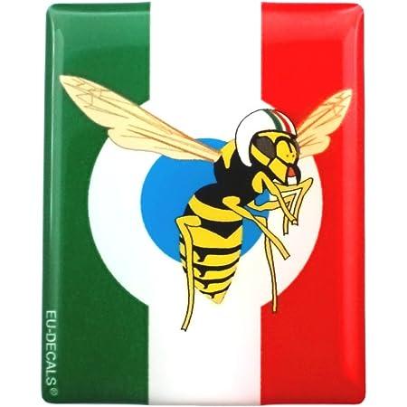 3d Aufkleber Für Die Vorderseite Horncasting Abzeichen Ihres Vespa Italienische Flagge Mit Dem Mio Vespa Logo In Blauer Zielscheibe Für Verschiedene Vespa Modelle Von Miovespa Auto