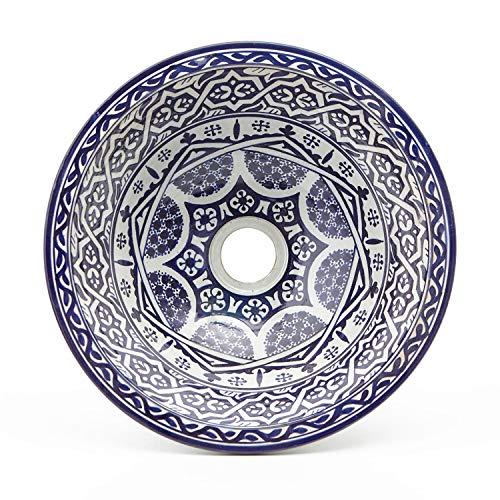 Casa Moro Orientalisches Keramik-Waschbecken Fes127 Ø 35 cm handbemalt | Marokkanisches Handwaschbecken für Küche Badezimmer Gäste-Bad | Einfach schöner Wohnen | WB35127