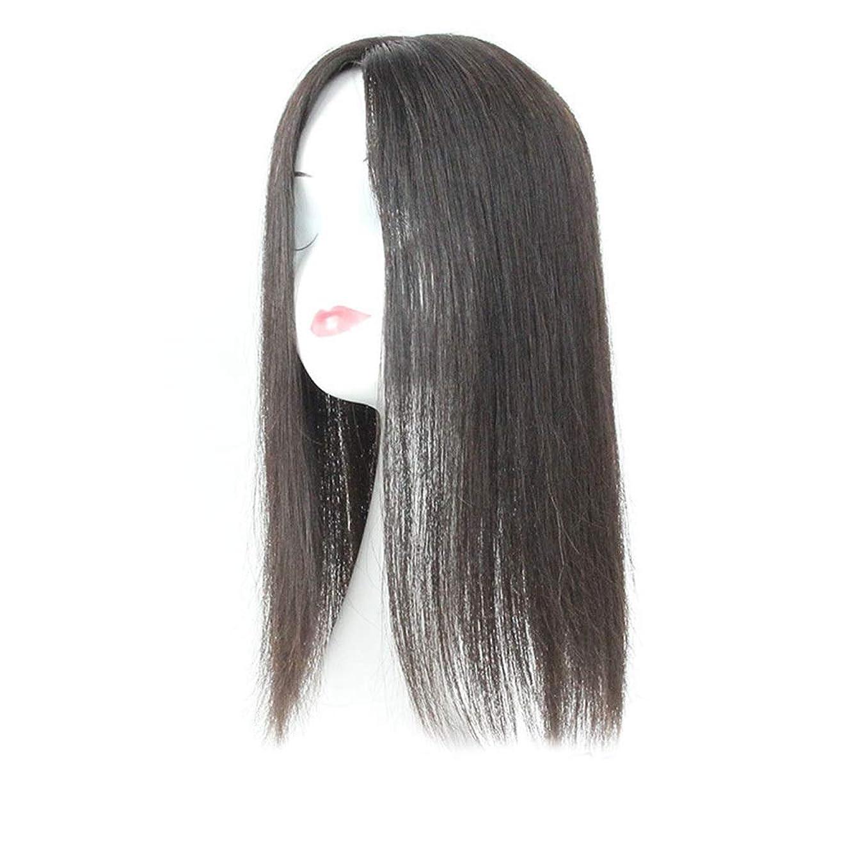 鹿トリクルティッシュYESONEEP 白髪党かつらをカバーするための本物の髪ふわふわかつらの女性の長いストレートヘアピンクリップ (Color : Natural black, サイズ : 20cm)