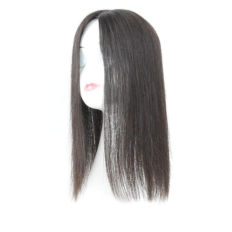 中毒カレンダー店員BOBIDYEE 白髪党かつらをカバーするための本物の髪ふわふわかつらの女性の長いストレートヘアピンクリップ (色 : Natural black, サイズ : 20cm)