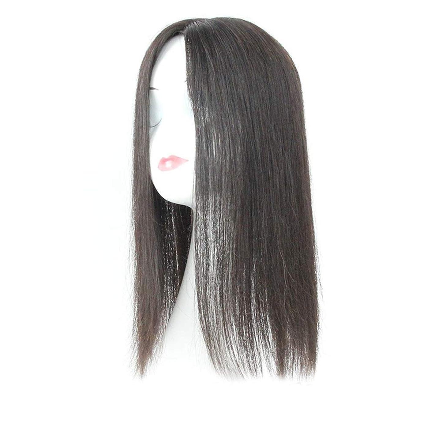 唇五月好きであるVergeania 白髪党かつらをカバーするための本物の髪ふわふわかつらの女性の長いストレートヘアピンクリップ (色 : Natural black, サイズ : 20cm)