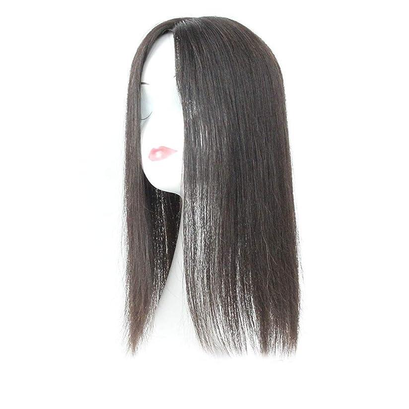 ピア避難専門YESONEEP 白髪党かつらをカバーするための本物の髪ふわふわかつらの女性の長いストレートヘアピンクリップ (Color : Natural black, サイズ : 20cm)