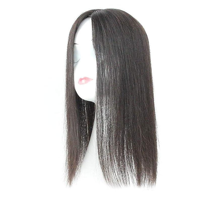 を通して下こっそりYESONEEP 白髪党かつらをカバーするための本物の髪ふわふわかつらの女性の長いストレートヘアピンクリップ (Color : Natural black, サイズ : 20cm)
