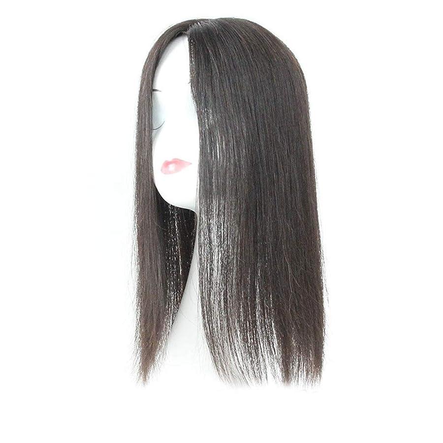 段落ライナー欲しいですYESONEEP 白髪党かつらをカバーするための本物の髪ふわふわかつらの女性の長いストレートヘアピンクリップ (色 : Natural black, サイズ : 20cm)