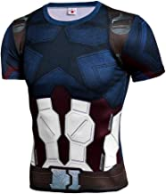 Long Sleeve 3D Print T-Shirt for Men's Captain America Compression Shirt Sports Gym Running Superhero Base Layer