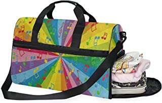Travel Tote Luggage Weekender Duffle Bag, Colorful Music Note Rainbow Large Canvas shoulder bag with Shoe Compartment