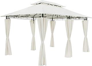 Casaria Tonnelle de Jardin Topas 3x4 m crème Tente de réception avec Toile Hydrofuge Pavillon pergola 2,60 m Mobilier exté...