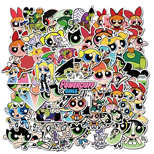 Animation works Powerpuff Girl Maleta Notebook Thermos Cup Casco computadora Impermeable Graffiti Pegatina 74pcs