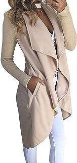 Minetom La Mujer Otoño Invierno Elegante Abrigo Manga Larga Asimétrico Hem Atada a la Cintura Cardigans Chaqueta Blazer Co...